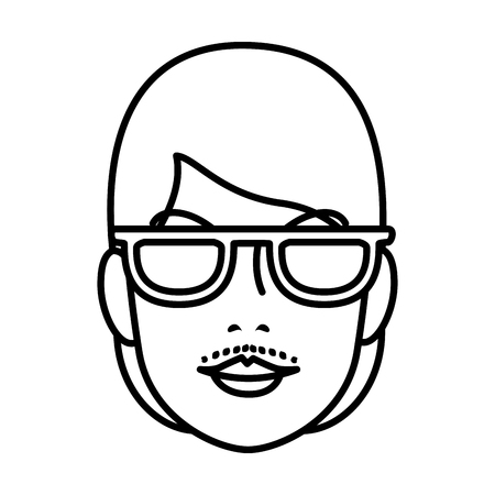 Kopf Frau mit Gesichtsbehaarung mit Sonnenbrille Vektor-Illustration Design Vektorgrafik