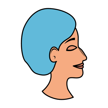 profile of woman with ugly nose and surgery cap vector illustration
