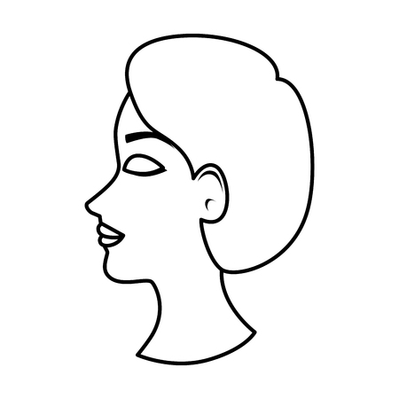 profile of woman with ugly nose vector illustration design