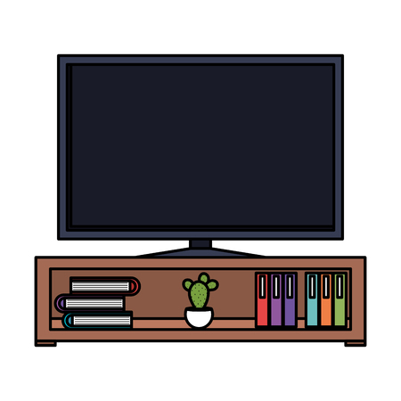 plasma tv in wooden shelf vector illustration design