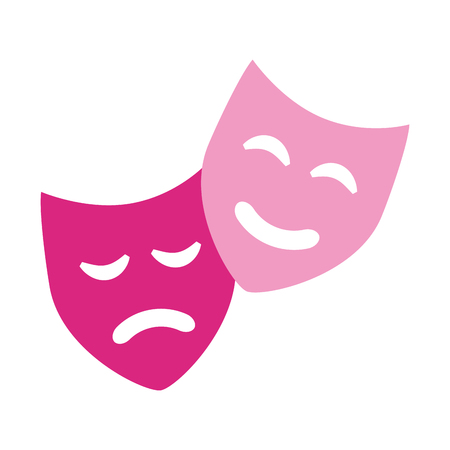 comedia drama máscaras teatro símbolo ilustración vectorial