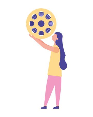 woman holding reel strip cinema vector illustration Illustration