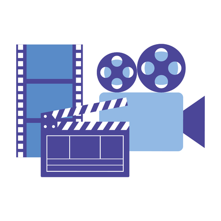 production movie film projector clapperboard strip vector illustration
