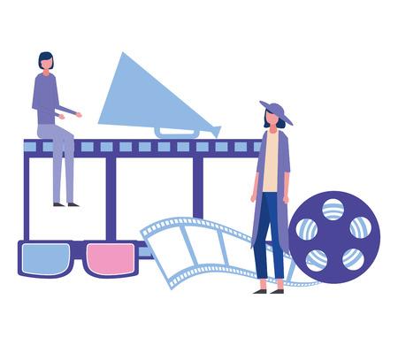 donne megafono bobina di produzione di film illustrazione vettoriale di film Vettoriali