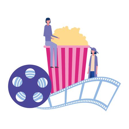 women cinema popcorn reel strip movie film vector illustration