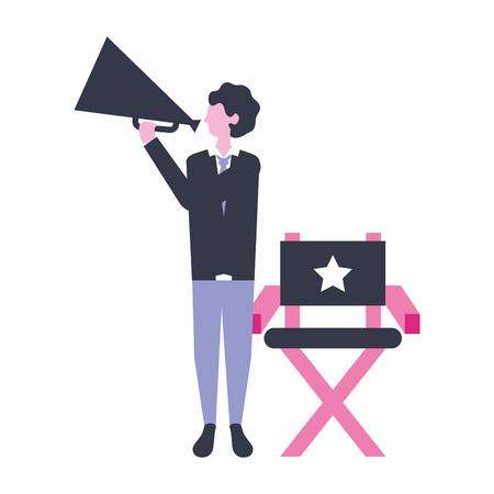 director holding megaphone production movie film vector illustration