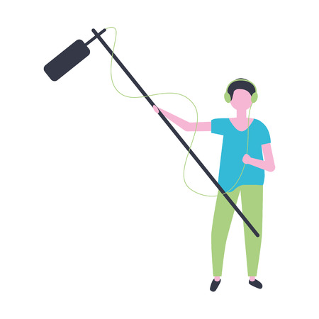 man with microphone production movie film vector illustration