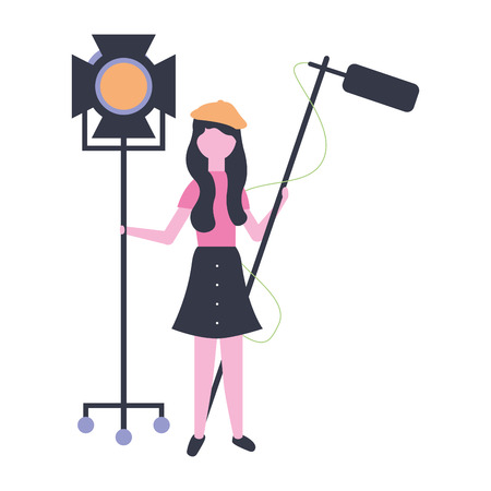 woman with light and microphone production movie film vector illustration