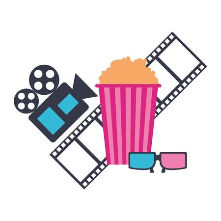 production movie film popcorn projector 3d glasses vector illustration