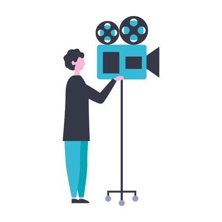 man with camera projector production movie film vector illustration Illustration