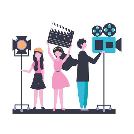 Ilustración de vector de película de producción de equipo de personas