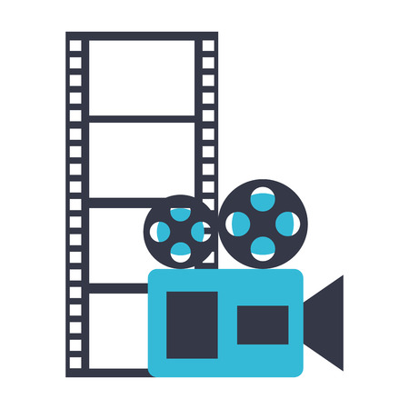 camera projector and reel strip production movie film vector illustration