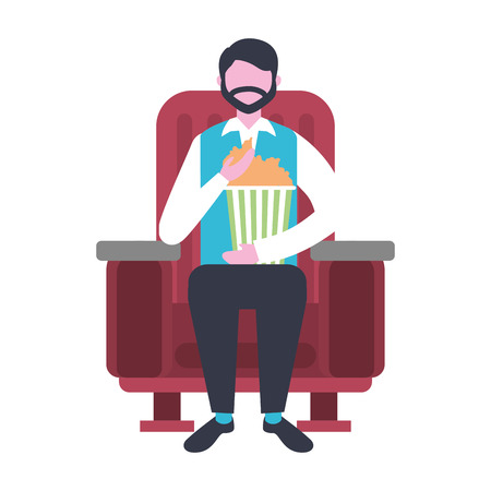 man sitting in cinema chair watching movie vector illustration