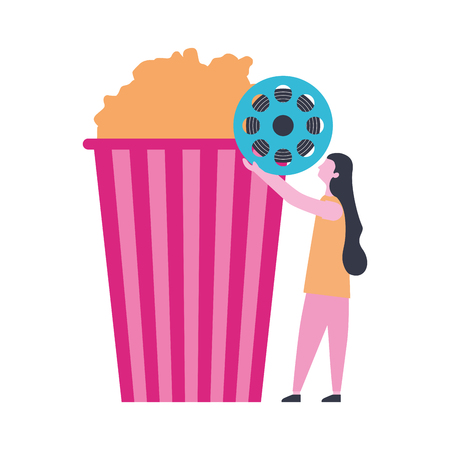 woman with reel strip cinema popcorn vector illustration 向量圖像