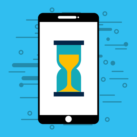 smartphone with hourglass isolated icon vector illustration design