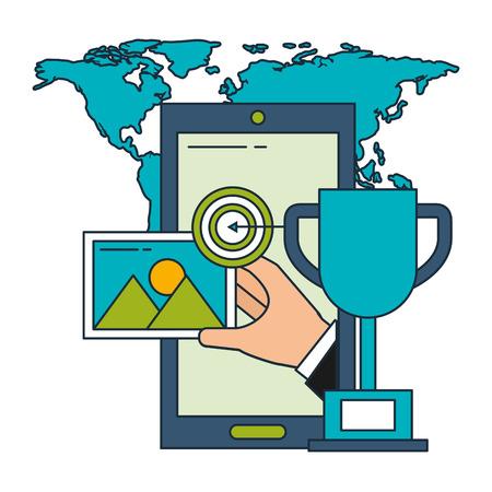 smartphone trophy target world business vector illustration