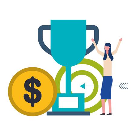 Ilustración de vector de destino de trofeo de mujer de negocios y moneda dinero