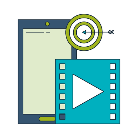 business smartphone target video player vector illustration Çizim
