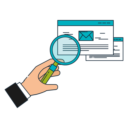 hand with magnifying glass email business vector illustration Illustration