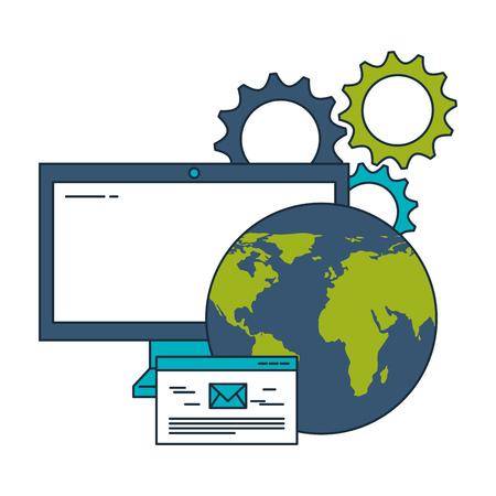 business world computer email communication gears vector illustration Illustration
