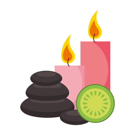 hot stones candles and fruit spa healthy vector illustration Ilustração