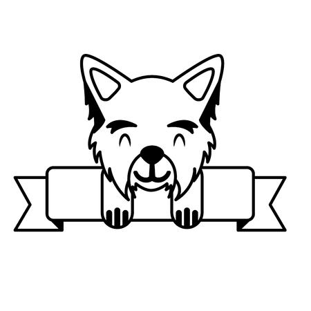cute mascot dog domestic ribbon vector illustration Illustration