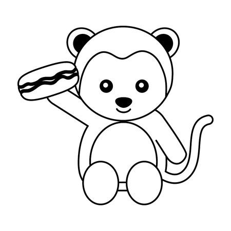 cute monkey with sweet macaron vector illustration Banco de Imagens - 109954316