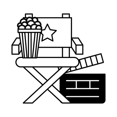 director chair popcorn and clapboard cinema movie vector illustration