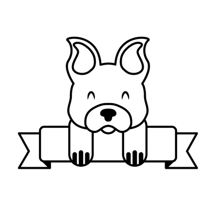 cute mascot dog domestic ribbon vector illustration  イラスト・ベクター素材