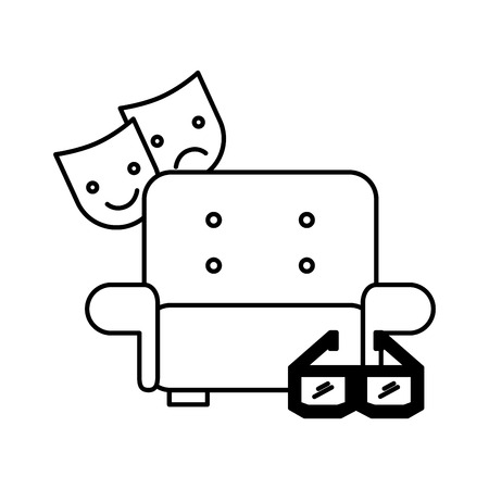 sofa and 3d glasses cinema movie vector illustration Çizim