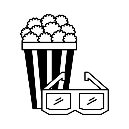 popcorn and 3d glasses cinema movie vector illustration