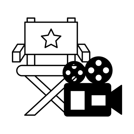 chair and projector camera cinema movie vector illustration