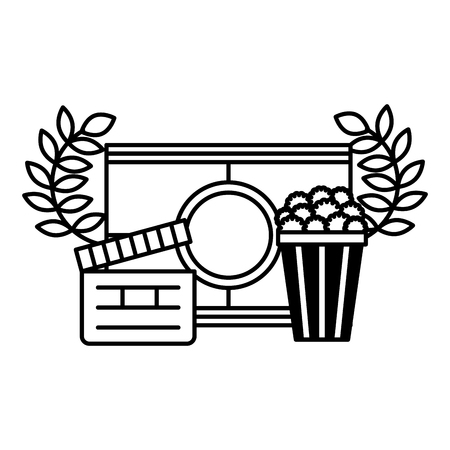 clapboard popcorn and countdown strip cinema movie vector illustration