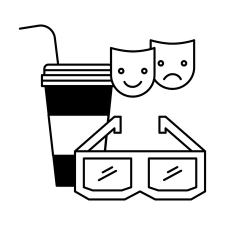3d glasses soda cup cinema movie vector illustration