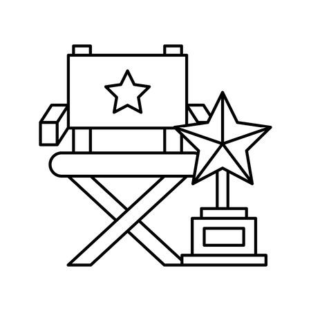 director chair trophy award cinema movie vector illustration