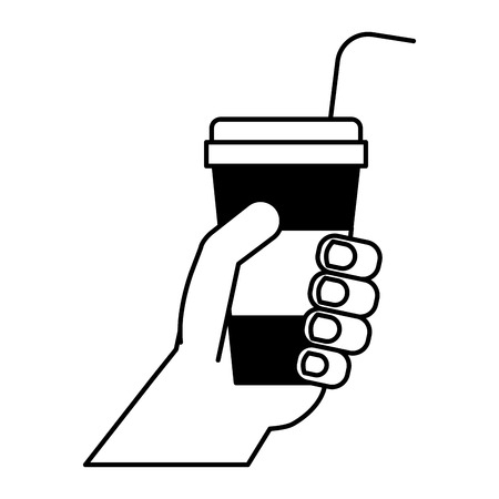 hand holding soda cup cinema movie vector illustration
