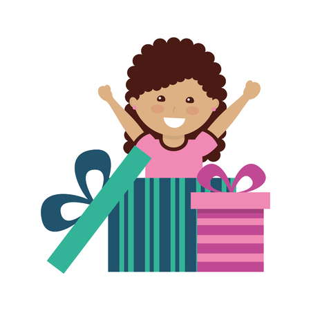 happy girl coming out gift surprise vector illustration Foto de archivo - 109954410