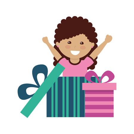niña feliz saliendo regalo sorpresa ilustración vectorial Ilustración de vector