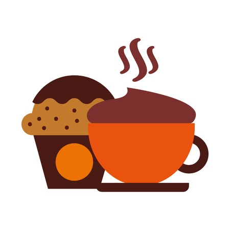 hot fresh coffee cup with cupcake vector illustration