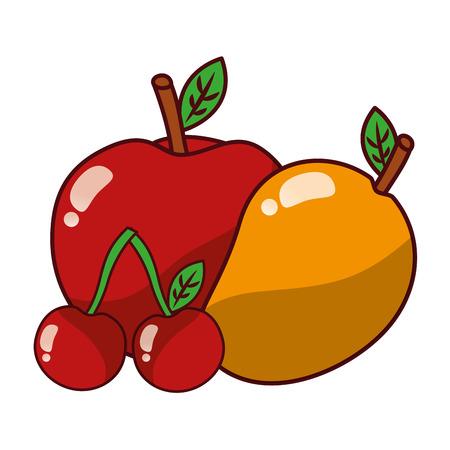 fruits fresh organic apple mango and cherry vector illustration Иллюстрация