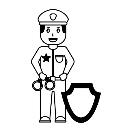policeman with handcuffs shield insignia vector illustration
