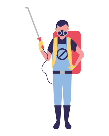 worker with mask and pest extermination machine vector illustration 일러스트