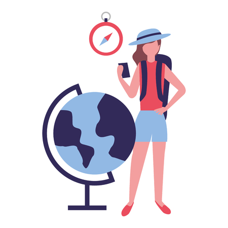 tourist woman with cellphone and globe clock vector illustration