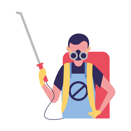 worker with mask and pest extermination machine vector illustration Stock Illustratie