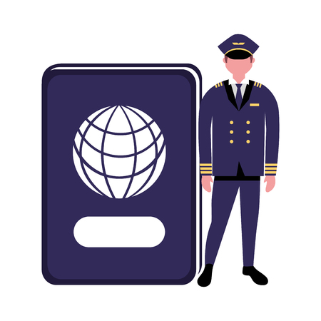 aviation pilot with passport profession labor vector illustration