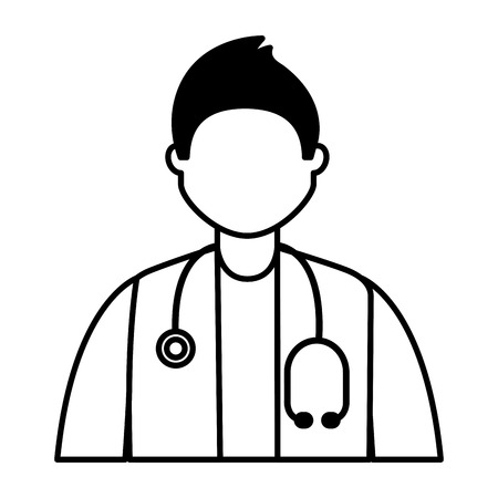 doctor male character professional labor vector illustration