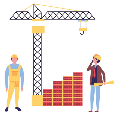 architect with blueprints crane construction vector illustration Illustration