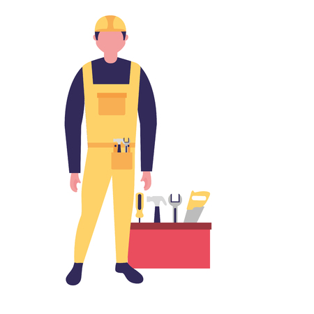 builder man worker with toolkit vector illustration