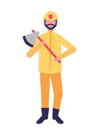 Bombero sosteniendo hacha ocupación laboral ilustración vectorial