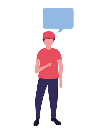 young man standing with speech bubble vector illustration